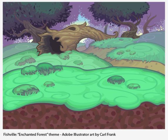 fantasy forest adobe illustrator fish tank environment